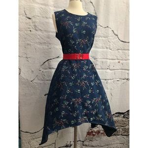 Denim Embroidered Asymmetrical Belted Dress